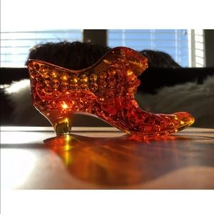 Vintage Fenton Glass Shoe Hobnail Cat In Slipper
